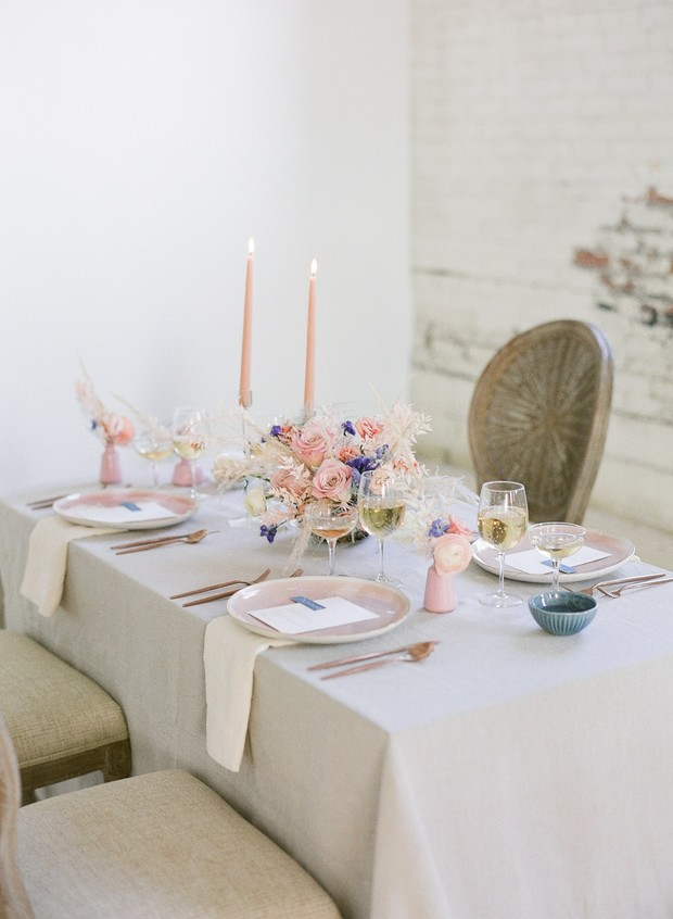 soft pink and blue pastel table decor