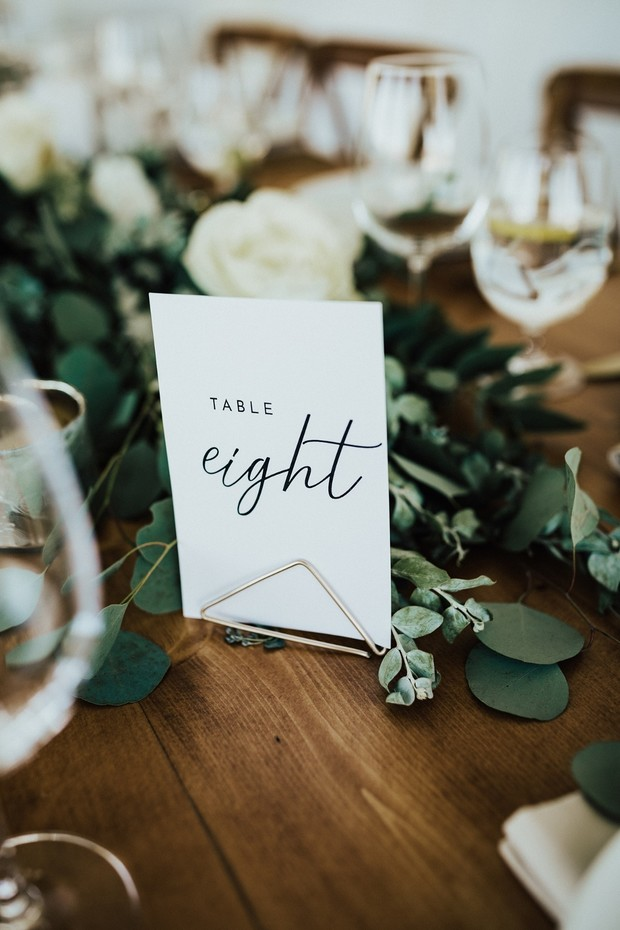 modern and chic wedding table number