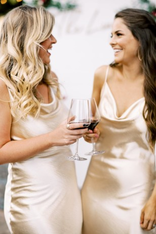 bridesmaids in gold