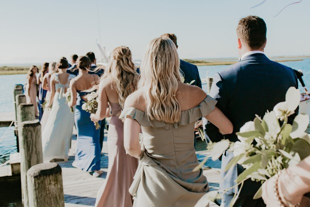 wedding party at the docks