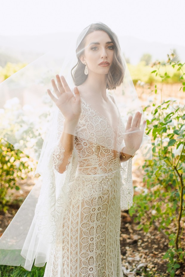 lacy wedding gown