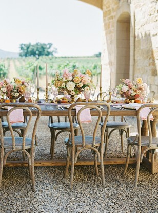 farm table wedding with a french winery vibe