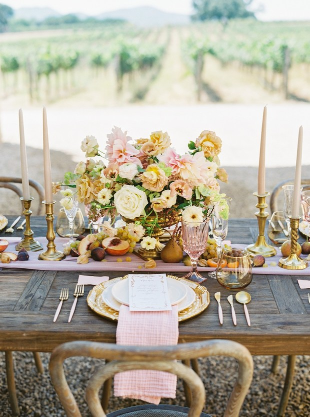 gold and pink vintage vineyard wedding table decor