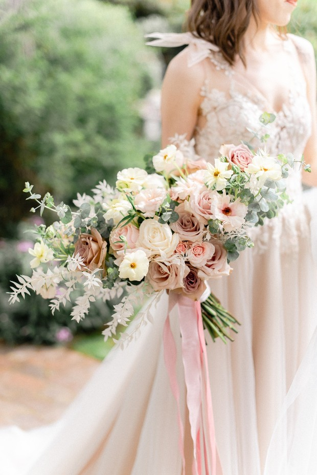 romantic blush and white wedding bouquet