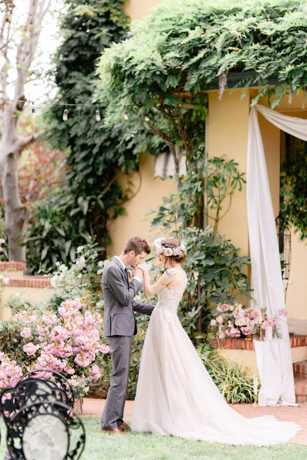 garden wedding ceremony with whimsical butterfly theme
