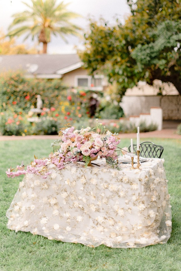 floral inspired wedding sweetheart table