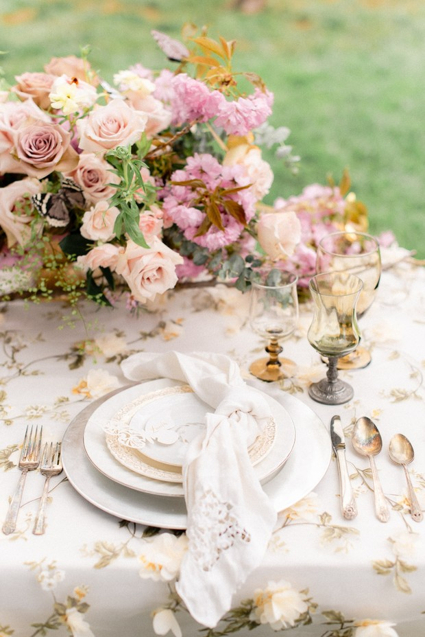 pink and gold floral garden wedding table decor
