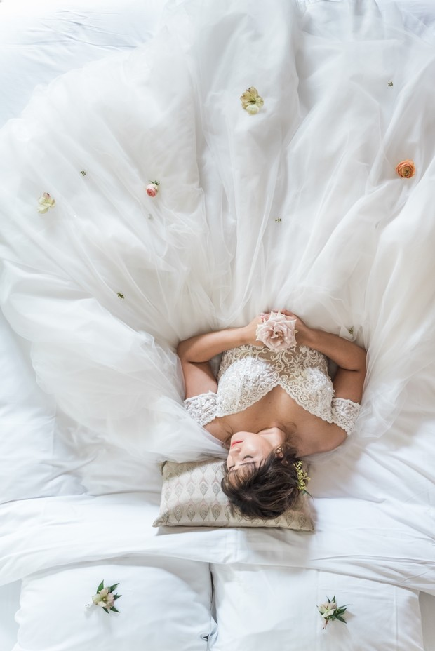 sleeping beauty bridal portrait