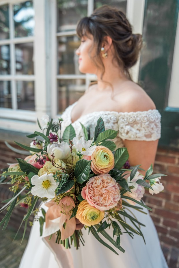 garden rose wedding bouquet
