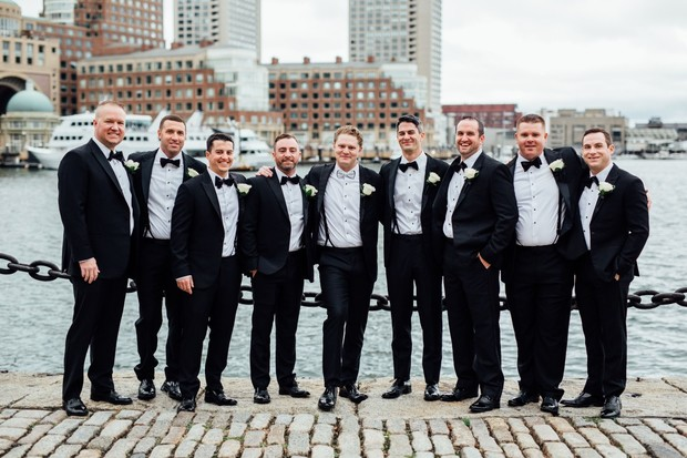 groomsmen in black tie