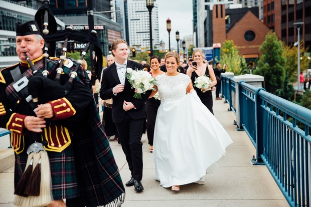 wedding parade with bag pipes