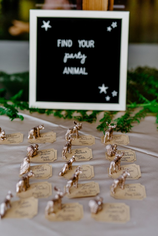 wedding escort cards and animal table names