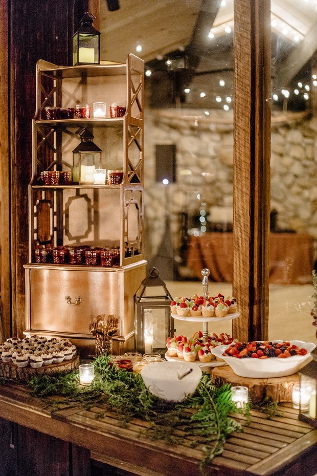 romantic and rustic dessert table