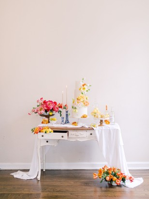 citrus themed wedding cake table