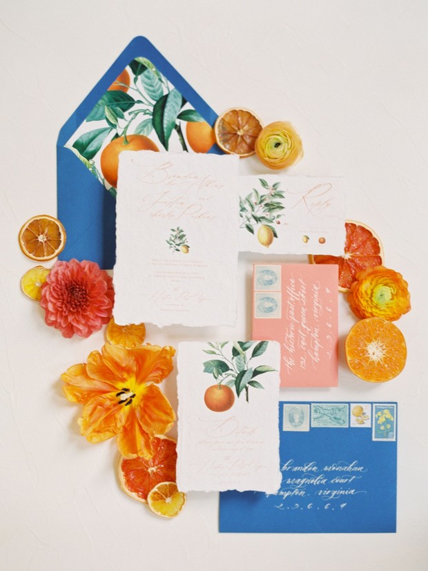 citrus themed wedding invitation suite