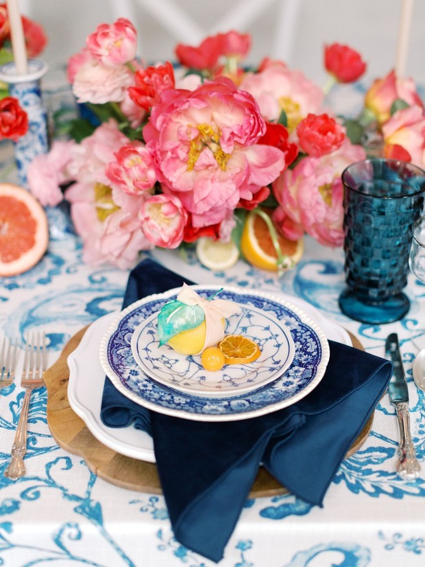 blue patterned china wedding place setting