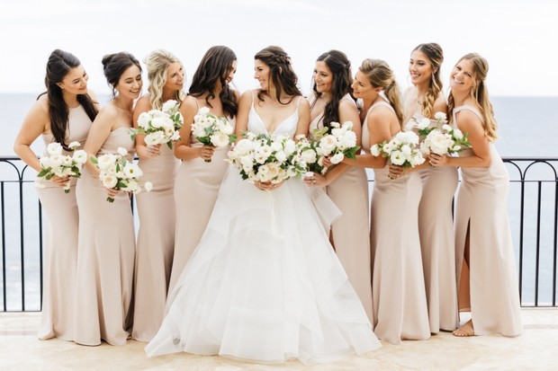 mismatched bridesmaid dresses in neutral tone