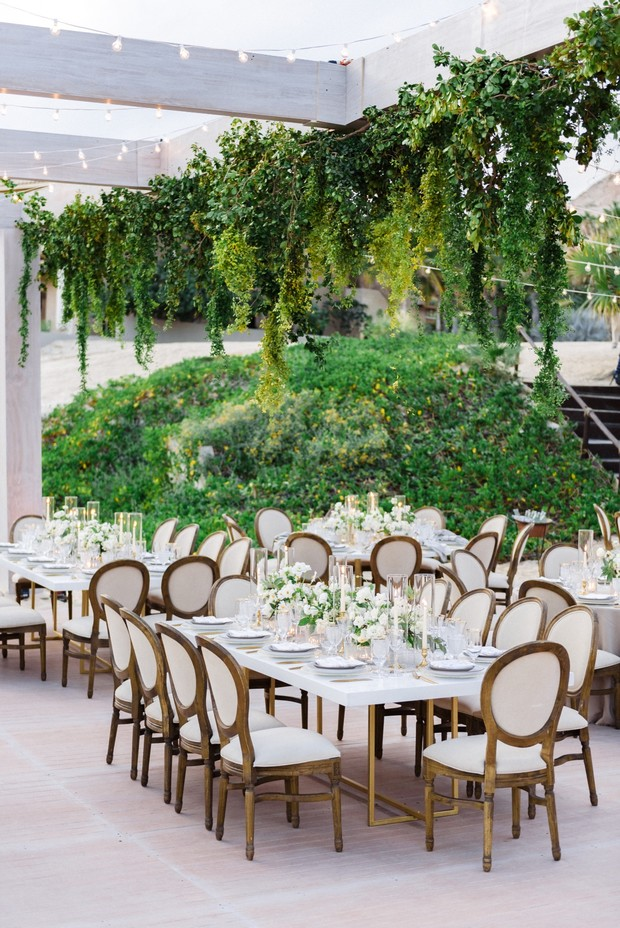 white and green wedding reception in Mexico