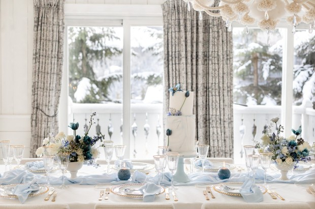 soft blue and white winter wedding table idea