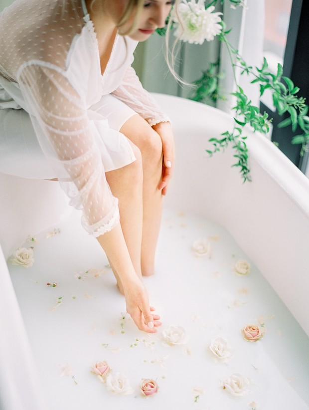 bridal boudoir milk bath