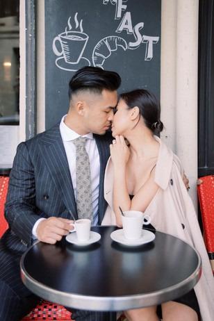 cute paris cafe engagement shoot
