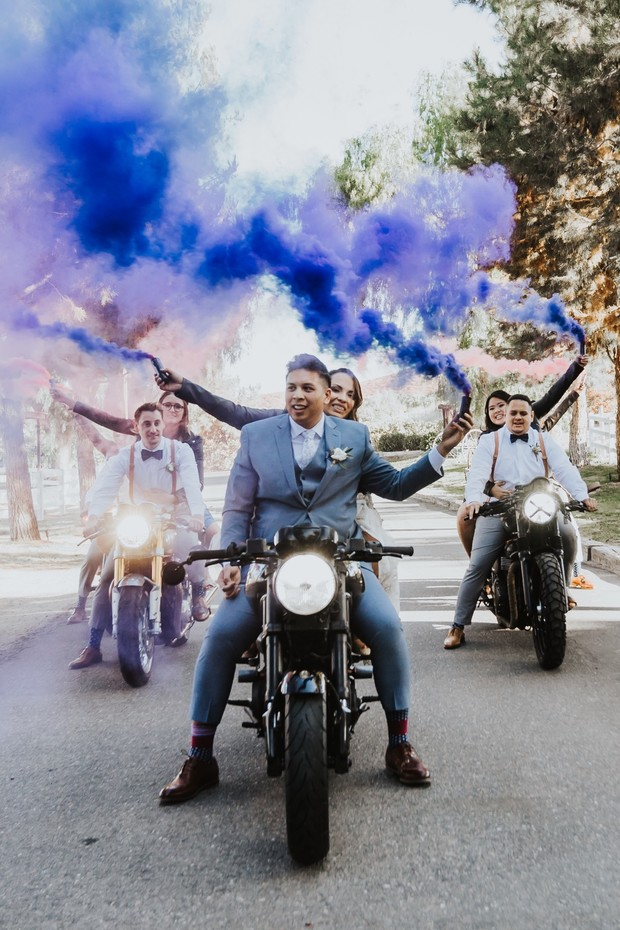 wedding smoke bombs and motorcycles