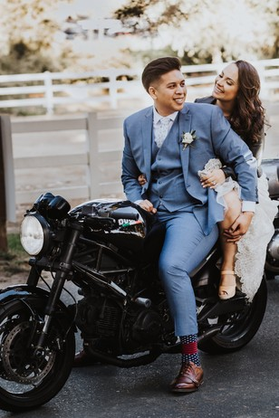 wedding motorcycle portrait