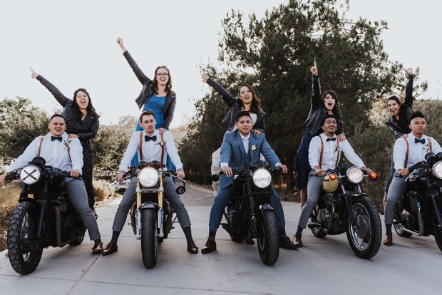 biker bridesmaids and groomsmen