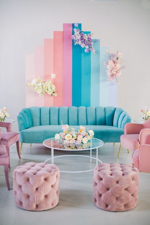 pastel rainbow wedding lounge