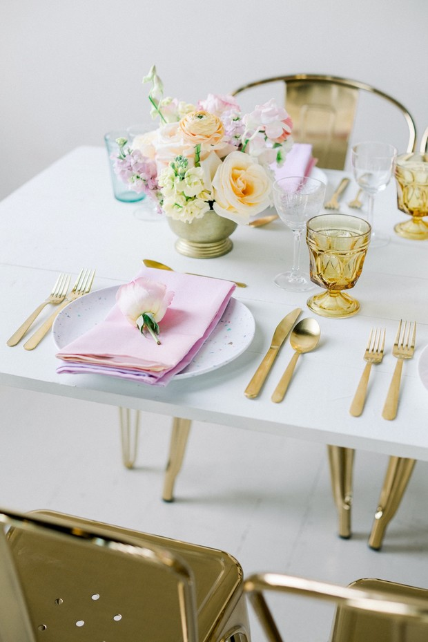 pastel and gold table decor