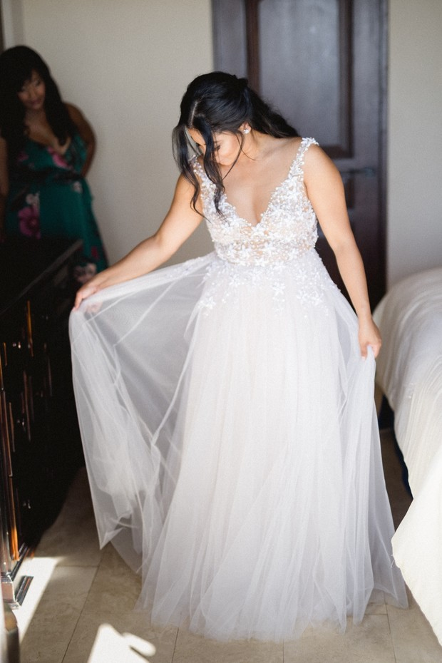 tulle wedding dress with floral top