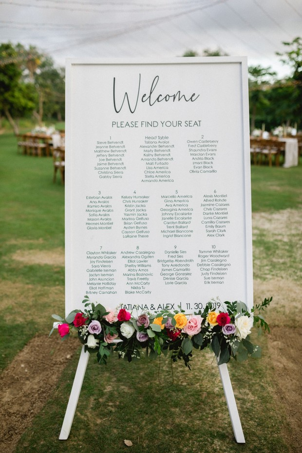 wedding seating chart with florals