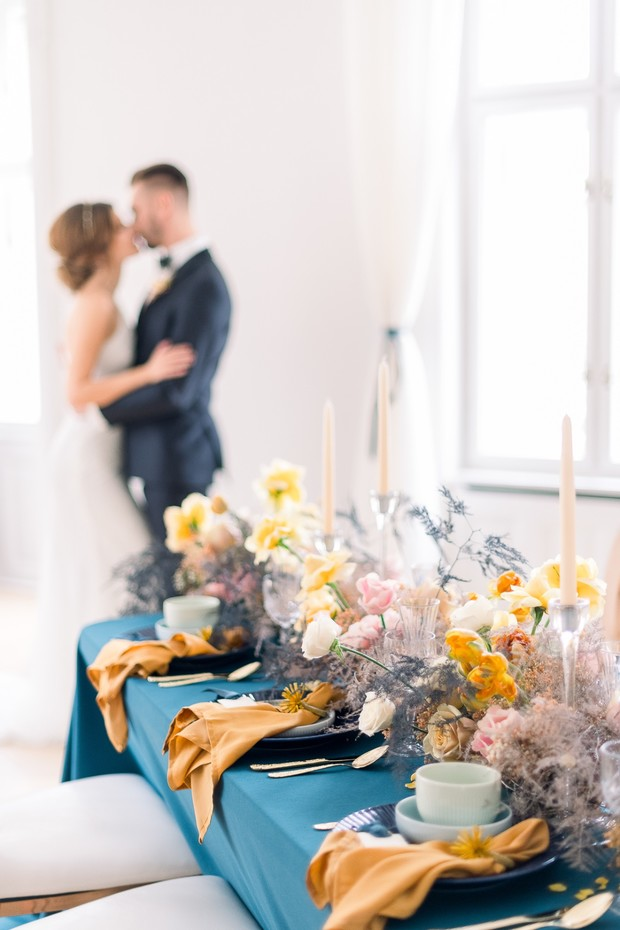 blue and gold reception decor