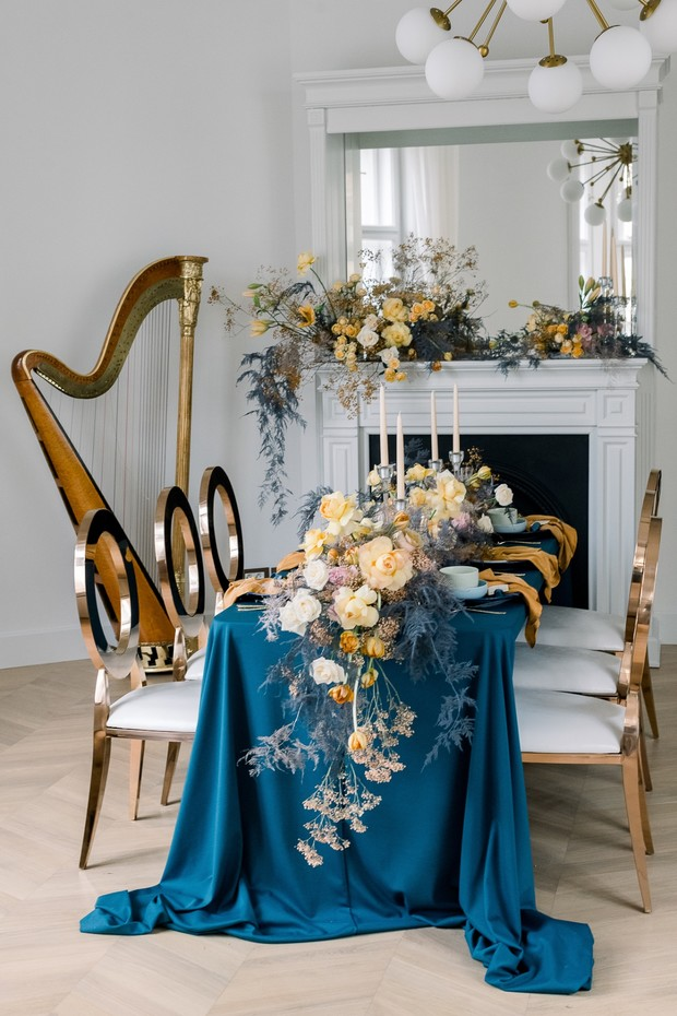 blue and gold reception