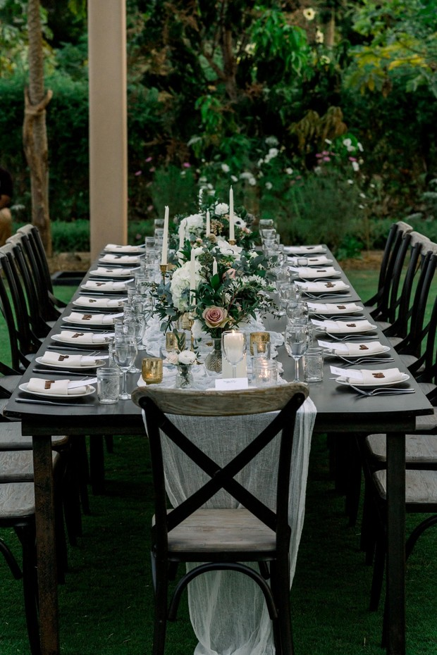 family style dining for a  wedding