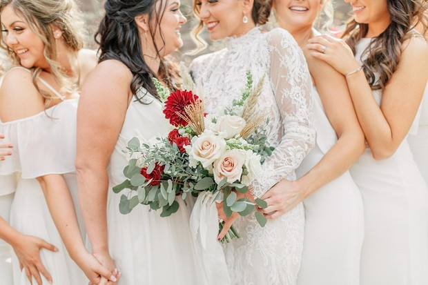 red and blush wedding bouquet