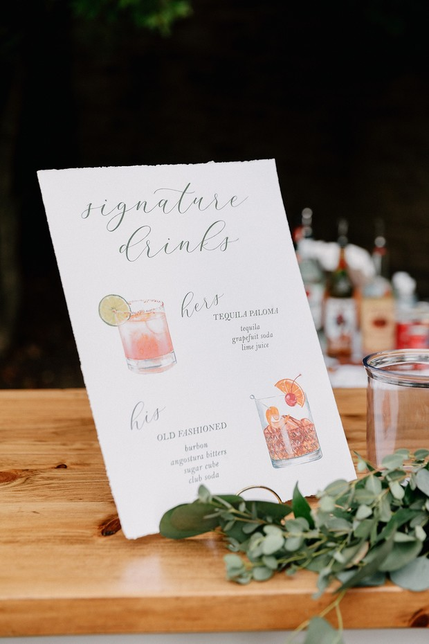 his and hers signature drinks for wedding
