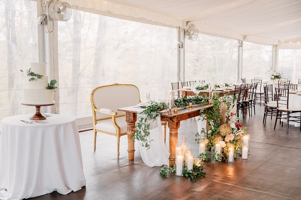 Sweetheart table decor with candle lights