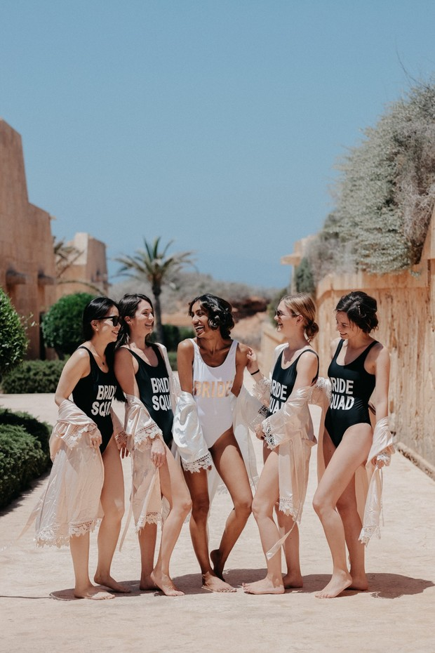 bridesmaids in matching swimsuits