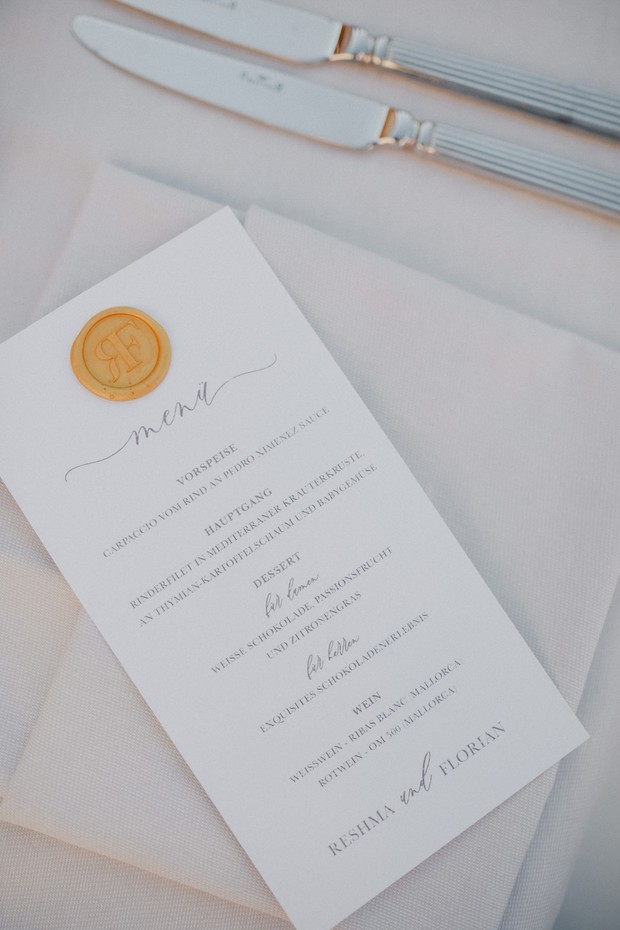 wedding menu with gold stamp