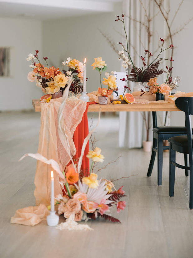 wedding table design with dried and fresh florals