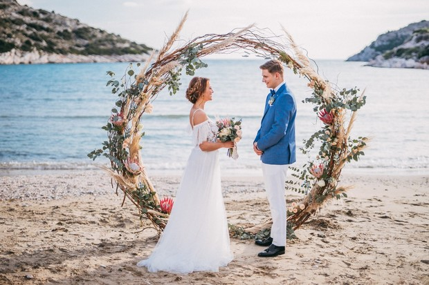 circle wedding ceremony on the beach