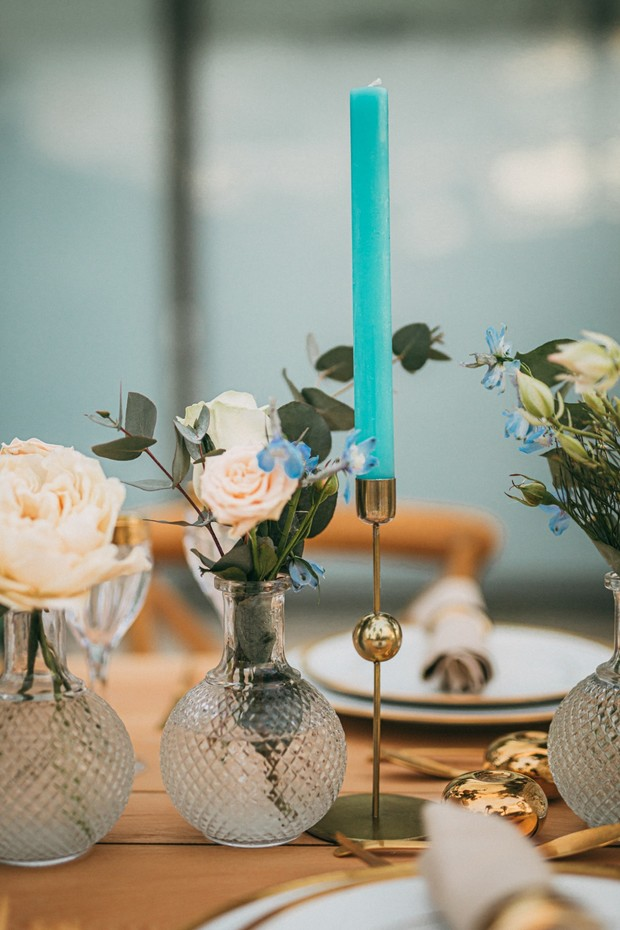 brass candle sticks wedding decor