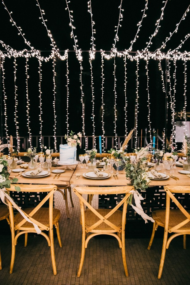 wedding reception decor with string lights