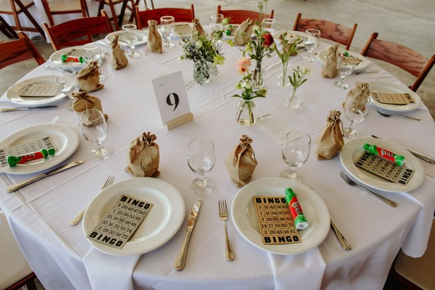 simple wedding table design with Bingo cards