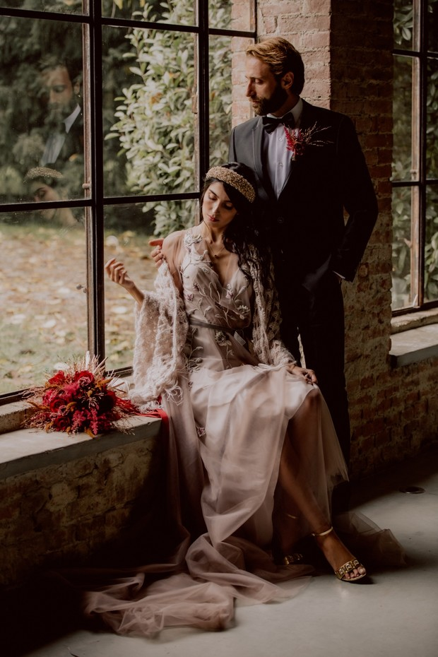 Luxurious blush and red wedding