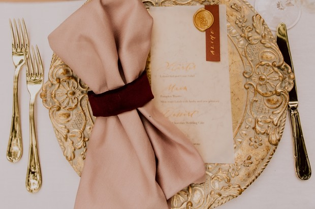blush and gold table setting