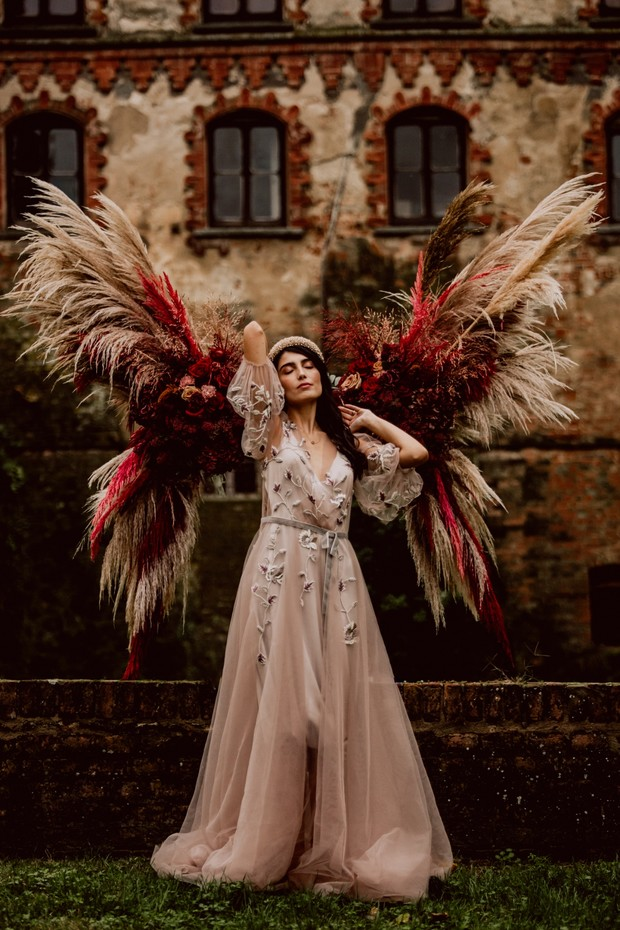 Bridal portrait with angel wings