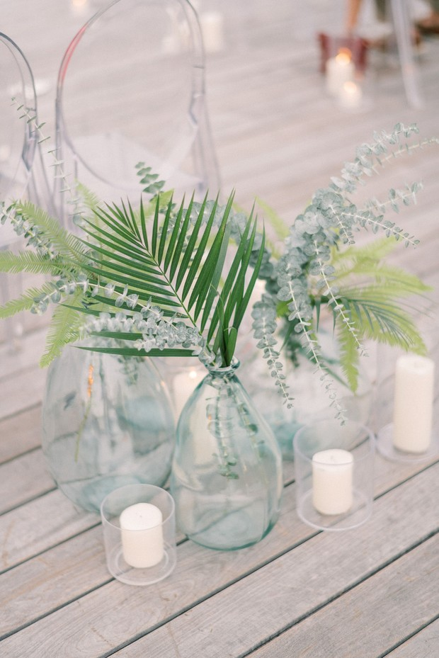 greenery ceremony decor with candles