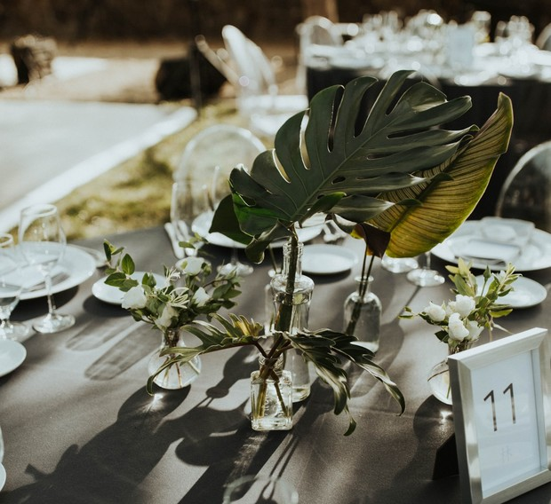 tropical leaf centerpieces